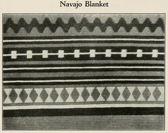 WWI Era Navajo Indian  Afghan Crochet Pattern Instant Download