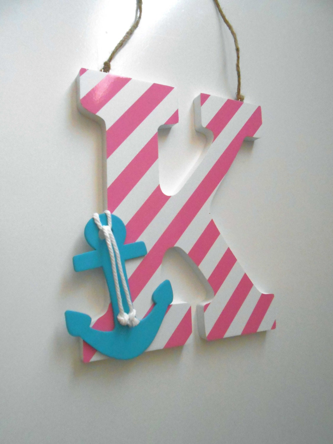 Anchor decor wall letters nautical nursery decor anchor for Decoration 5 letters