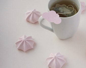 Tea bags Cloud Shaped with pink pastel label