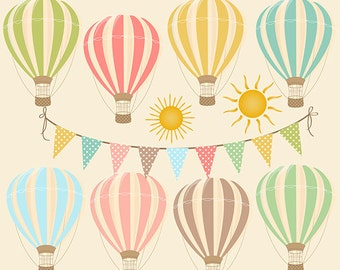 "Hot Air Balloons Clipart Digital: ""HOT AIR BALLOONS"" with bunting banner, sun clipart, for Birthday Party, Invites, Cards"