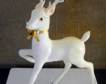 """Vintage Large White Celluloid Prancing Reindeer with Gold Bow 12"""" Deer for Retro Holiday Displays"""