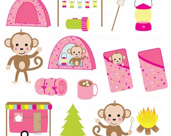 Camping Monkey Girls, Commercial Use Clipart, Cute Monkey Clipart, Invitations, Scrapbooking, Card Design, Camping Graphics, Vector