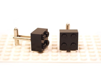 Black colour 2 x 2 brick cufflinks. Cufflinks made with LEGO(R) bricks. Cuff links Wedding gift