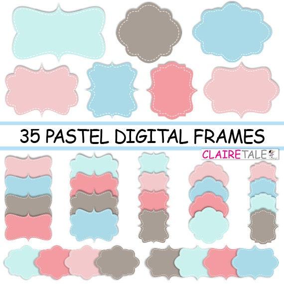 "Digital clipart labels: ""PASTEL DIGITAL FRAMES"" pastel clipart frames, labels, tags for scrapbooking, cards, invitation, stationary, album"