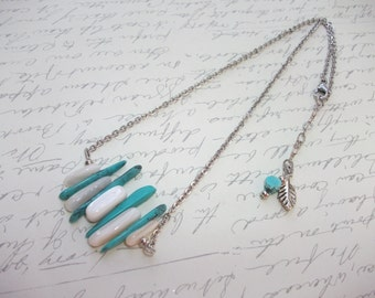 Turquoise and white stick necklace