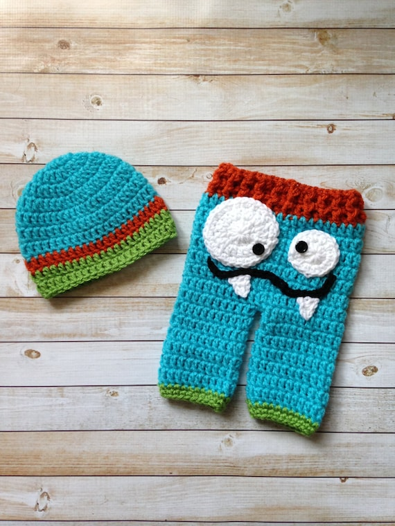 Crochet Pattern Baby Monster Pants : Crochet Monster Pants and Beanie Set Photography by ...