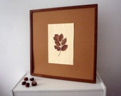 Handmade Picture Natural  dry leaf-Rustic-Primitive- Image -Picture - Wooden Canvas - Wall Decor, Wall Art, Gift Idea-  Wall Decoration