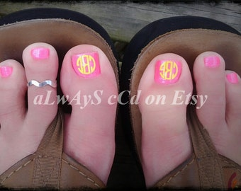 Personalized Monogram toe nail decals NOW 20 DECALS TOTAL