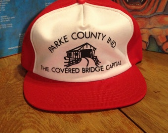 1980's The Covered Bridge Capital / Parke County Indiana Trucker Hat