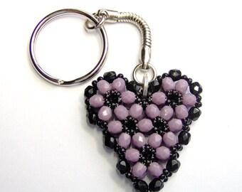 Purple and black heart, purple heart, beaded keychain, heart keyring, halloween keyring, beadwork keyring, halloween heart, purple keyring