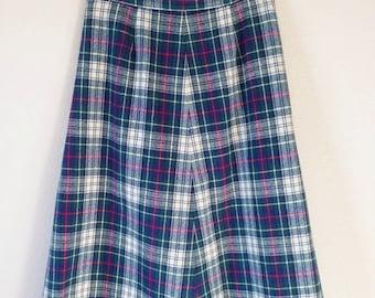 Vintage Pendleton Green Plaid Wool Skirt Size 8