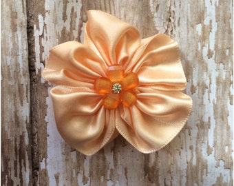 CLEARANCE Peach Satin Flower Hair Clip, Girls Peach Flower Alligator Clip, Toddler Barrette, Girls Hair Clip, Headband Clip