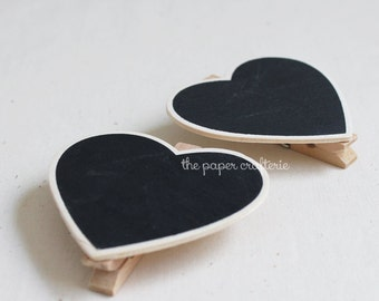 Mini Heart Blackboard Chalkboard Peg Clip Party Decoration Favour Lolly Table - 15 pieces