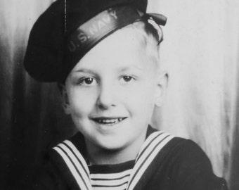 WW II Era 1940's Adorable Young Sailor Boy Photo Booth Studio Photo - Free Shipping