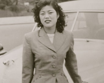 Original 1950's Pretty Young Japanese Woman Snapshot Photo - Free Shipping