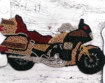 Large Motorcycle Applique, MoTorcycle Patch, Sew On AppLique, Destash Clearance
