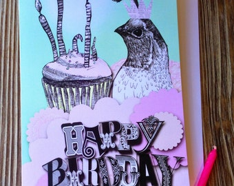 Cute Happy Birthday Card. Happy birthday card. Girly birthday card. Happy Birdday!