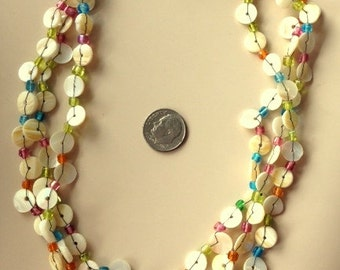 "Vintage Handtied Mother of Pearl ""Button"" Style Multi 3 Strand Necklace"