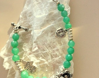 Girls Spring Green Jade and Hill Tribe Silver Flowers, Angel, and Love Bracelet -For A Small Wrist