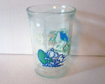 Welches jelly jar glass, tom and jerry football glass, football jelly jar glass
