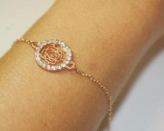 Filigree Flower bracelet, Bridemaids gifts,Rose Gold bracelet,Filigree Flower Jewelry,Bridal jewelry,Flower Girls Bracelet,  Bridal bracelet