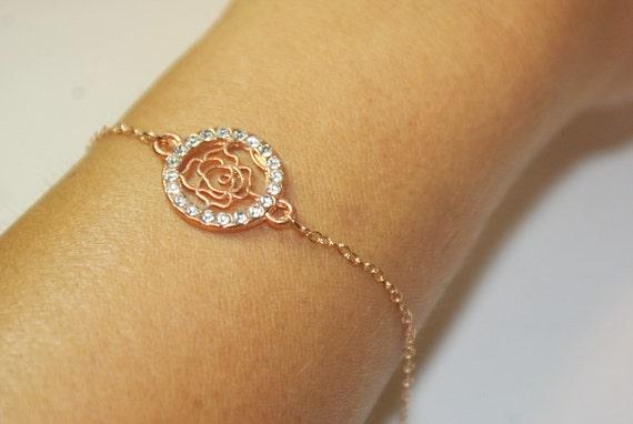 Brautschmuck armband blumen  Filigrane Flower Armband Bridemaids Geschenke Rose Gold