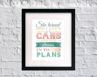 instant download she turned her cants into cans and her dreams into plans inspirational quote girls nursery quote pink vintage style