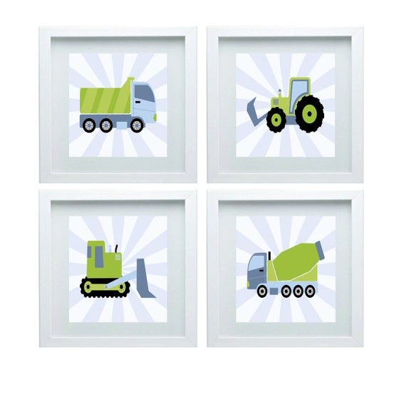 Construction nursery decor dump truck cement by fmdesignstudio for 10x10 kids room
