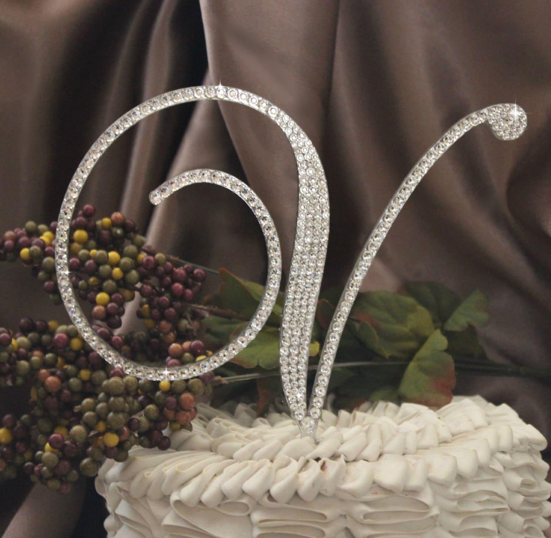 6 monogram wedding cake topper initial with swarovski