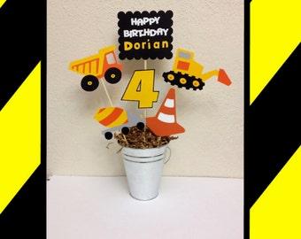 Construction Centerpiece Birthday Decoration Personalized  - Bulldozer, Dump truck, mixing truck