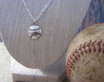 Dainty Silver Baseball Necklace