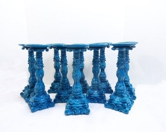 Set of  10 Pillar Candle Holder Blue Wedding Candles Shabby Home Decor