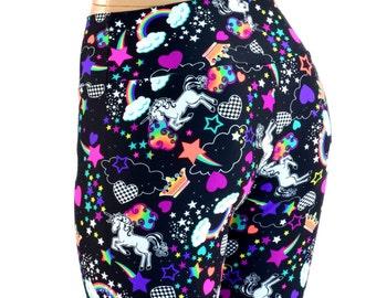 UV Glow Unicorn and Rainbow High, Wide Waistband Leggings Lycra Spandex for Yoga Neon Run -E8223