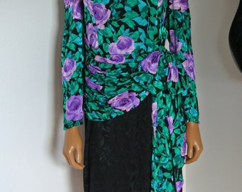 Vintage 1980s A J Bari Dress 100% Silk Wiggle Shift Floral Damask Size 8