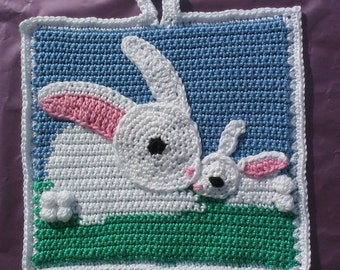 Mummy and baby bunny potholder pattern - INSTANT DOWNLOAD