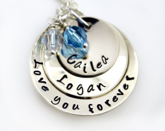 Hand Stamped Mother's Day Jewerly, Love You Forever Hand Stamped Necklace, Personalized Necklace, Gift, Mommy Jewelry