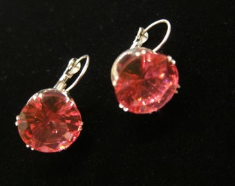 Vintage Large Pink Glass Cubic Zirconia Round Cut Lever Back Earrings in Silver Tone Metal - Costume Jewelry, Pink CZ Glass, Facetted Cut