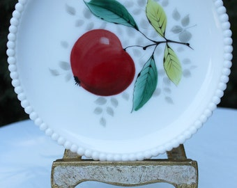 Decorative Plate.  Milk Glass Plate. Hand Painted Apple and Leaves on Milk Glass Plate. Hobnail Rim Display Plate.