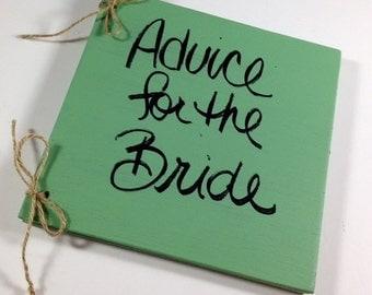 Advice for the Bride Wedding Book - Bridal Shower Book - Rustic Book - Cottage Chic Advice for the Bride Book
