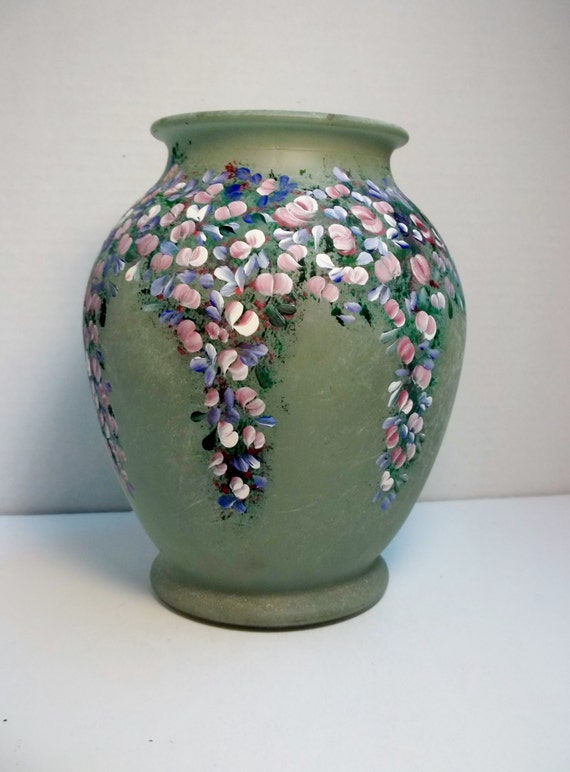 a glass vase green finish hand painted original design my. Black Bedroom Furniture Sets. Home Design Ideas