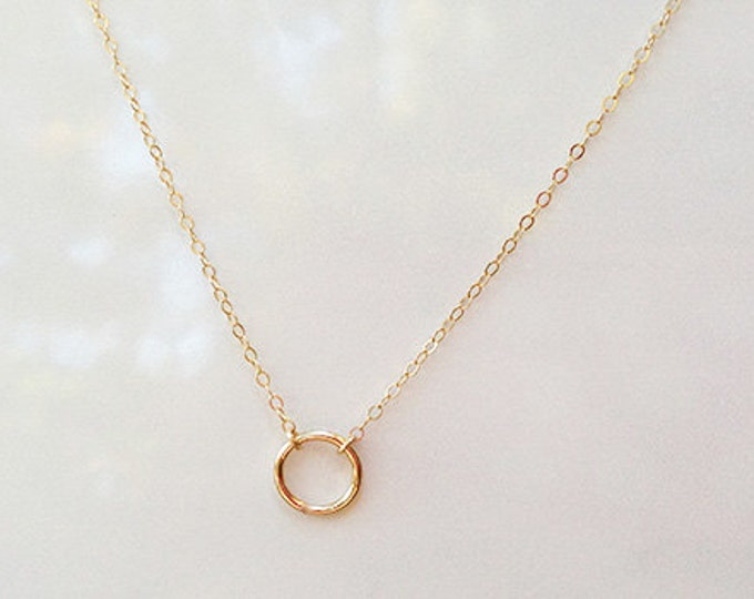 Halo -  Round Ring necklace, Halo necklace, simple everyday necklace, 14K Gold Filled necklace  EN014