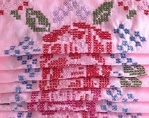 Cross Stitch Quilt Squares w Pink Red Roses on Pink Field w Blue Green Lavender / Cottage Folk Art for Cottage Country Decor