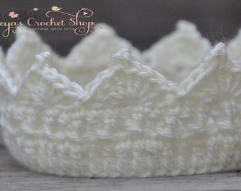 Cream Baby Crochet Crown, Baby Accessories, Newborn Size, Infant Girl/Boy crown , princess/prince toddlers
