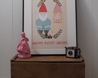 Gnome Sweet Gnome Poster. Inspirational print. Quote poster. Wall Art. Typography poster - 11x17 Poster