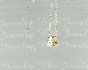 Initial Cats Necklace - Gold & Silver Mix Kitty Jewelry, Cat Lover Pendant,Pet ,Personalized Necklace, Gift Idea Necklace,Kittens Necklace