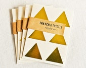 24 Metallic Gold Triangle Stickers - 1.5 Inch Envelope Seals Large Wedding Gift Wrapping Party Invitations Embellish Packaging