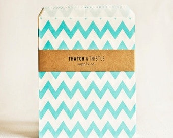 Paper Bags in Aqua Chevron Stripes - Set of 20 - 5x7 Party Favor Blue Kraft Gift Wrapping Packaging Embellishment Sacks Merchandise