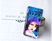 "SALE Unique ""Gypsy Denim"" Art Deco Photo Glass Ring, Clara Bow Flapper Tinted Altered Vintage Original Art Collage, 1.5""x.75"", Chalkboard &"