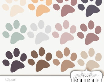 Paw Print cliparts, pet Clip Art. Dog / Cat paws print Clipart Printable Instant Download for  Commercial Use. PNG Brown Beige pink