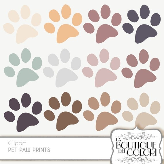 Paw Print cliparts pet Clip Art. Dog / Cat paws print Clipart